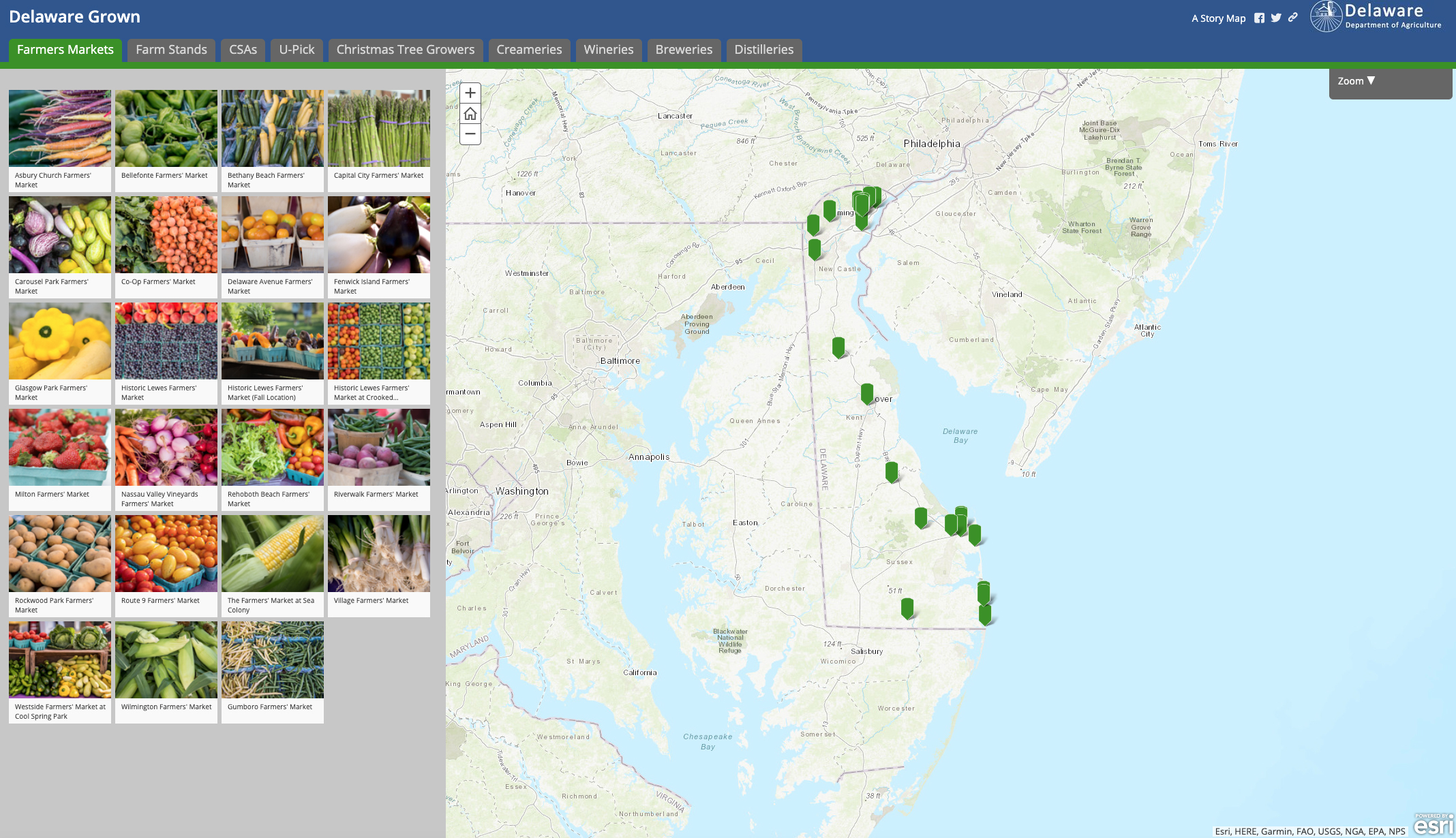 Image of the Delaware Grown Farm Fresh map application